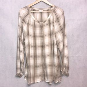 J. Jill Button Down Tunic Blouse Checkered XL